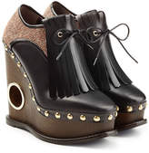 Paloma Barceló Platform Clogs with Tweed, Leather and Tassels