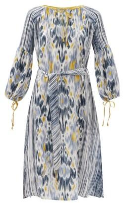 D'Ascoli Amina Belted Ikat-print Silk-crepe Dress - Blue Multi