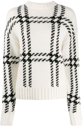Ami Oversize Check crew neck Sweater