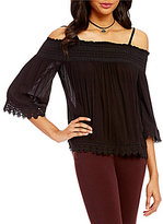 Jolt Off-The-Shoulder Smocked Crochet Trim Top