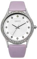Oasis Women's Quartz Watch with White Dial Analogue Display and Purple PU Strap B1531