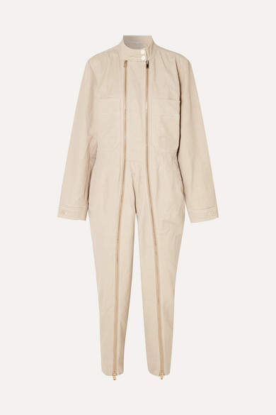Stella McCartney Zip-embellished Twill Jumpsuit - Beige