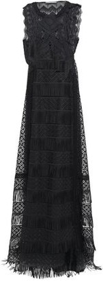 Alberta Ferretti Fringe-trimmed Guipure Lace And Tulle Gown