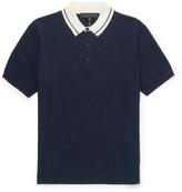 Rag & Bone Jason Contrast-collar Knitted Cotton Polo Shirt - Navy