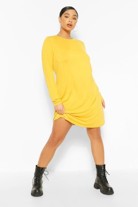 boohoo Plus Jersey Long Sleeve T-Shirt Dress
