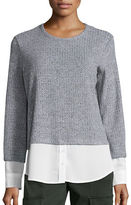 Calvin Klein Mock Layered Marled Top