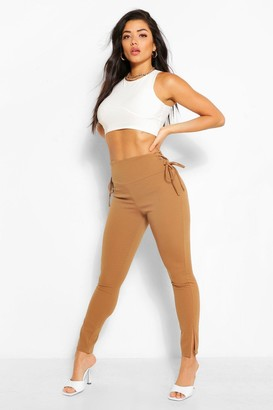 boohoo Lace Up Side Skinny Trousers