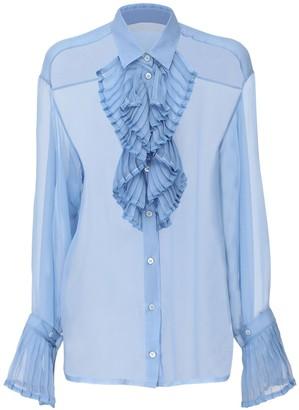 Maison Margiela Sheer Silk Shirt W/ Ruffles