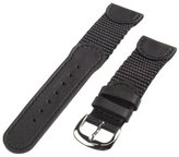 Republic Men's Genuine Leather and Nylon Watch Strap 20mm Regular Length, Black