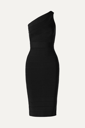 Herve Leger One-shoulder Bandage Dress - Black
