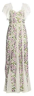 Alice + Olivia Women's Devina Floral Fringe Maxi Dress