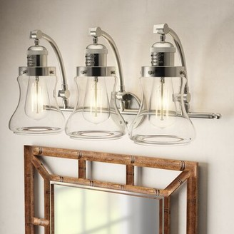 Beachcrest Home Nardone 3-Light Vanity Light Finish: Brushed Satin Nickel, Shade Color: Clear, Bulb Type: 3.5 Watt Vintage LED Bulb