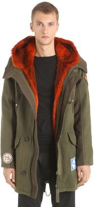 Yves Salomon Army Wool Gabardine Parka W/ Fur Lining