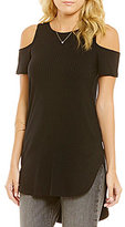 Moa Moa Ribbed Cold Shoulder High-Low Tunic