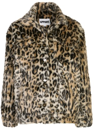 Apparis Lauren leopard faux-fur coat