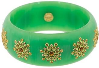 Mark Davis 18kt Gold Sapphire Bakelite Bangle Bracelet