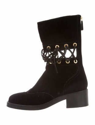 Chanel 2016 CC Velvet Lace-Up Boots Black