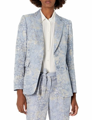 Tahari ASL Women's Two Button Flap Pocket Jaquard Jacket