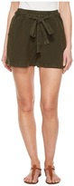 Lucky Brand Tie Front Linen Shorts in Deep Depths