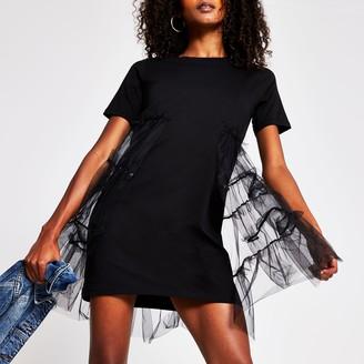 River Island Womens Black tulle skirt t-shirt dress