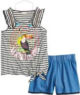 Self Esteem Girls 7-16 Graphic Print Striped Tank Top & Shorts Set with Necklace