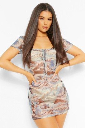 boohoo Marble Print Square Neck Mesh Bodycon Dress