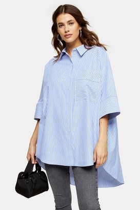 Topshop Womens Blue Stripe Poplin Shirt - Blue