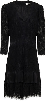 Diane von Furstenberg Paneled Pleated Satin And Corded Lace Dress