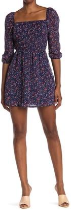 Rowa Emma Floral 3/4 Sleeve Mini Dress