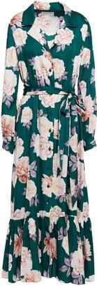 Sachin + Babi Gathered Floral-print Satin Midi Shirt Dress