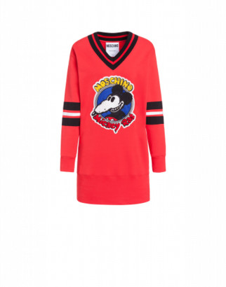 Moschino Mickey Rat Fleece Dress Woman Red Size 36 It - (2 Us)