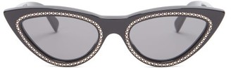 Celine Crystal-embellished Cat-eye Sunglasses - Black