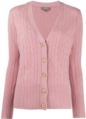 N.Peal V-neck cable knit cardigan