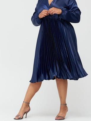 AX Paris Curve Satin Pleated Dress - Navy