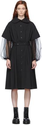 Comme des Garcons Black Belted Oversize Collar Dress