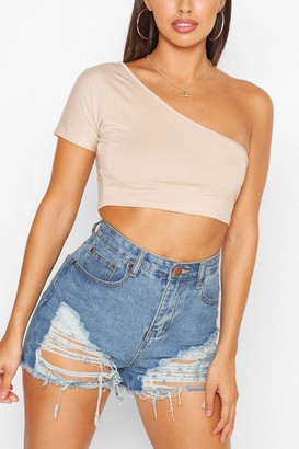 boohoo Petite One Shoulder Crop Top