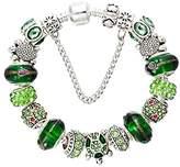 Diy Antique Silver Plated Glass Crystal Green Bead Pierced Pendant Diamond Decorate Alloy Bracelet