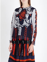 Sacai Calligraphy-print chiffon blouse