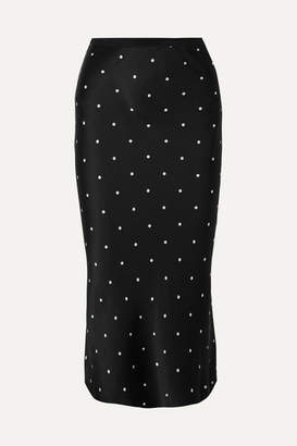 Anine Bing Bar Polka-dot Silk-charmeuse Midi Skirt - Black