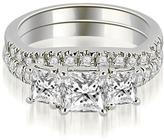 Ice 1 8/9 CT TW Lucida Three-Stone Princess Cut Bridal Set in 18K White Gold