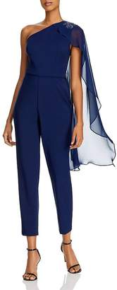 Adrianna Papell One-Shoulder Cape Jumpsuit