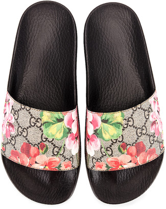Gucci Pursuit GG Supreme Flora Slides in Beige Ebony & Multicolor | FWRD