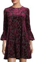 Neiman Marcus Bell-Sleeve Velvet Burnout Dress