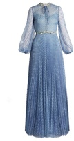 Luisa Beccaria Long-sleeved point d'esprit tulle gown