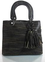 Stuart Weitzman Brown Beige Suede Tassle Detail Tote Handbag