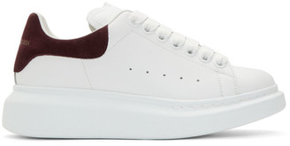 Alexander McQueen White and Burgundy Oversized Sneakers