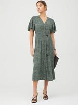 Whistles Anita Spotted Animal Frill Sleeve Dress - Green/Multi