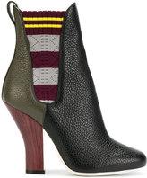 Fendi colour-block boots - women - Cotton/Leather - 37