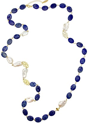 Farra Oval Lapis Lazuli With Freshwater Pearls Multi-Way Necklace