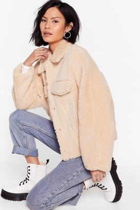 Nasty Gal Womens Those Faux Fur the Days Shirt Jacket - Cream